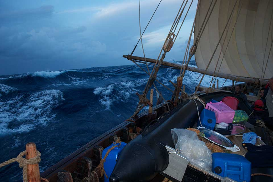 even in the rough seas of the Bay of Bengal