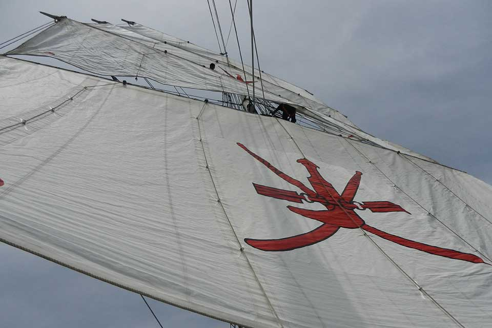 Her main mast is 30 metres above the deck