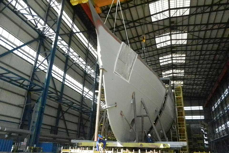 The new ship is already taking shape in a yard in Romania